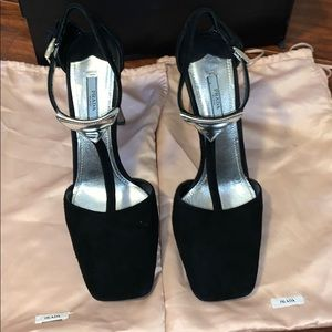 Authentic Prada Black Suede Pumps with Silver heel
